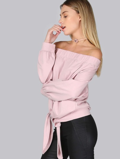 Bow Tie Front Off Shoulder Sweater MAUVE