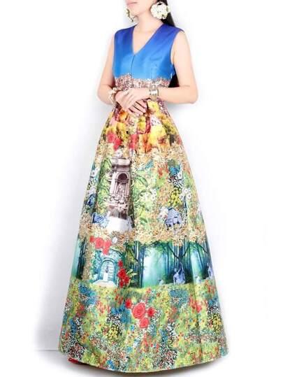 فستان بلا كم متعدد الألوان ياقة V