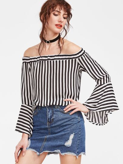 Contrast Striped Off The Shoulder Bell Sleeve Top