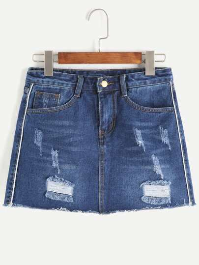 Dark Blue Ripped Raw Hem Denim Skirt