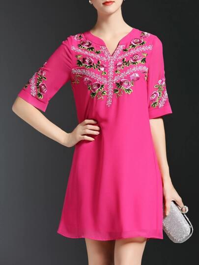 Hot Pink V Neck Flowers Embroidered Shift Dress