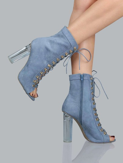 Peep Toe Faux Suede Perspex Boots BLUE
