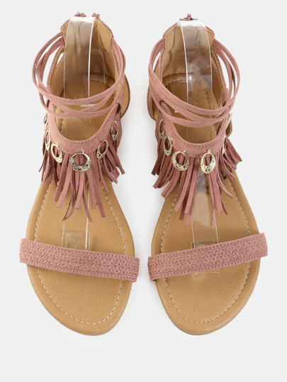 Fringe Charm Accent Sandals MAUVE