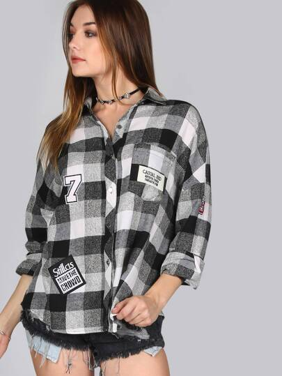 Checkered Patch Flannel MULTI