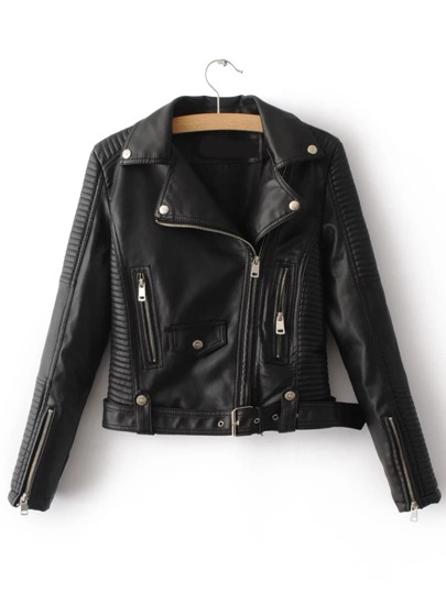 Black Oblique Zipper Moto Jacket With Buckle