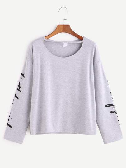 Heather Grey Letter Print Cut Out Neck T-shirt