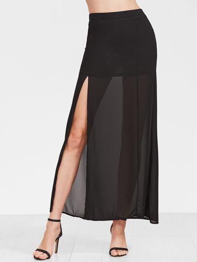 Falda negra con recubrimiento de gasa de alta flecos