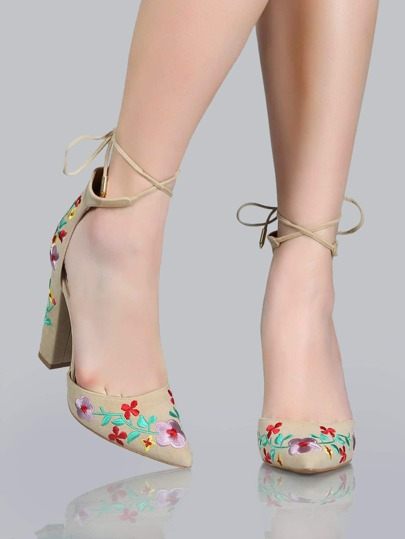 Pointy Toe Floral Heels NUDE