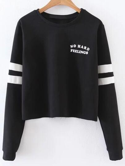Black Letter Print Striped Sleeve Sweatshirt