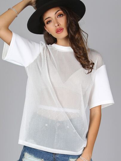 Sheer Mesh Stripes Tee WHITE