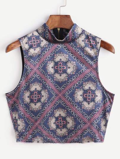 Tribal Print High Neck Zipper Back Tank Top