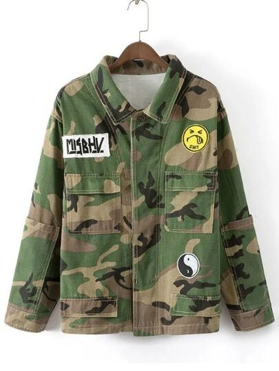 Army Green Camouflage Print Patch Detail Coat