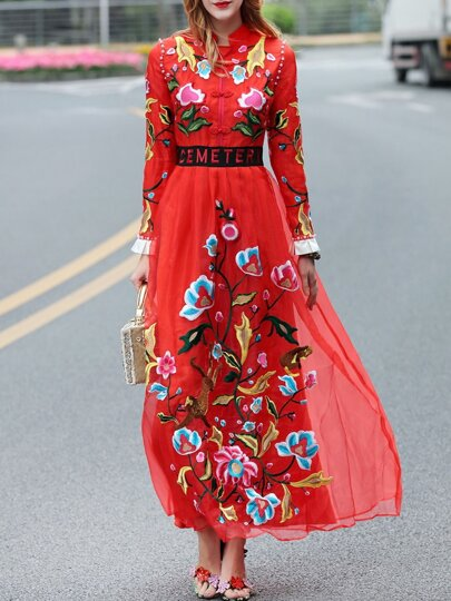 Red Collar Organza Embroidered Maxi Dress