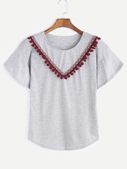 Heather Grey Embroidered Tape Detail Pom Pom T-shirt