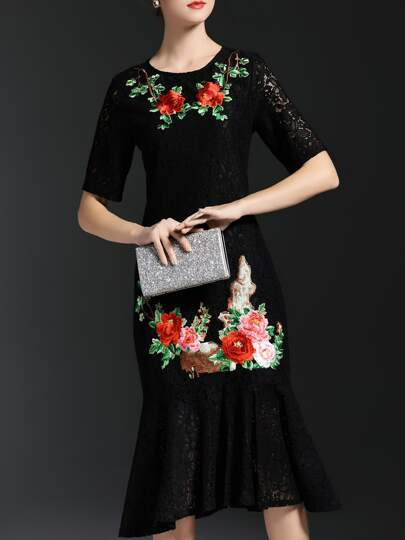Black Flowers Embroidered Fishtail Lace Dress