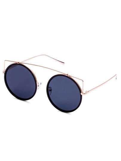 Gold Frame Grey Lens Round Sunglasses