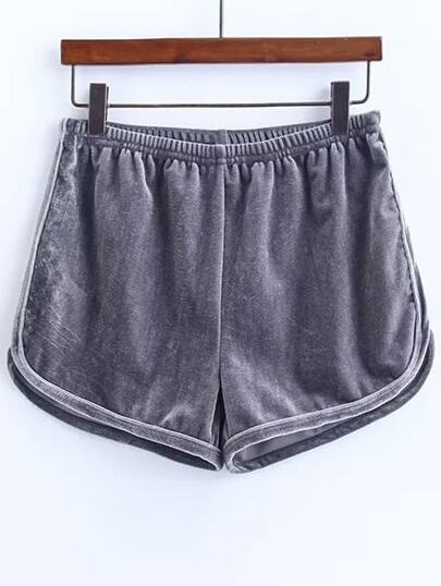 Shorts cintura elástica de terciopelo - gris