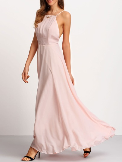 Crossover Low-cut Back Full Length Dress