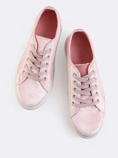 Pastel Velvet Sneakers BLUSH