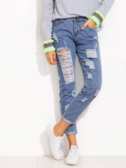 SHEIN                                Roll Hem Distressed Jeans