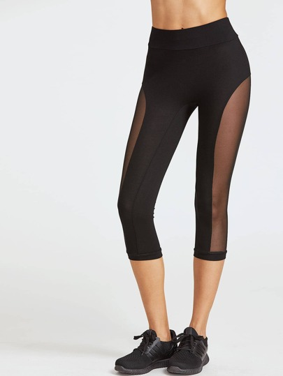 Black Mesh Panel Crop Leggings