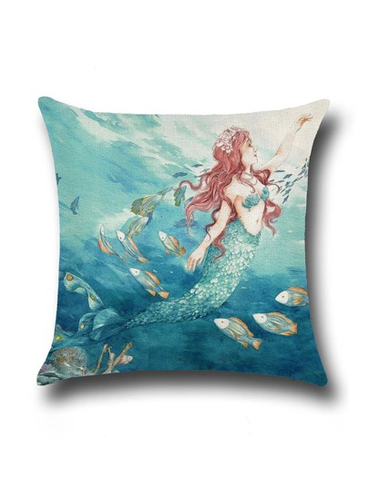 Mermaid Print Linen Cushion Cover