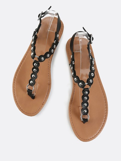 Studded Thong Sandals BLACK