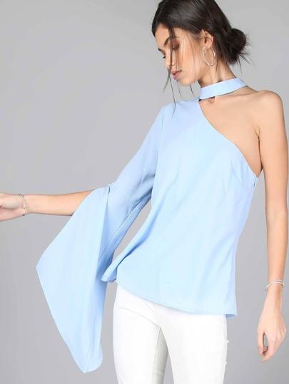 Open Sleeve Choker Blouse POWDER BLUE