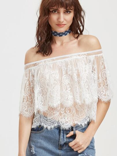 Off Shoulder Layered Sheer Lace Cape Top