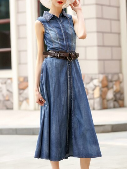 Blue Lapel Belted Split Denim Dress