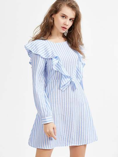 Blue And White Striped Ruffle Trim A Line Dress