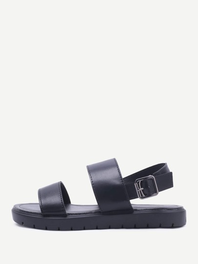Black Strap Pu Flat Sandals