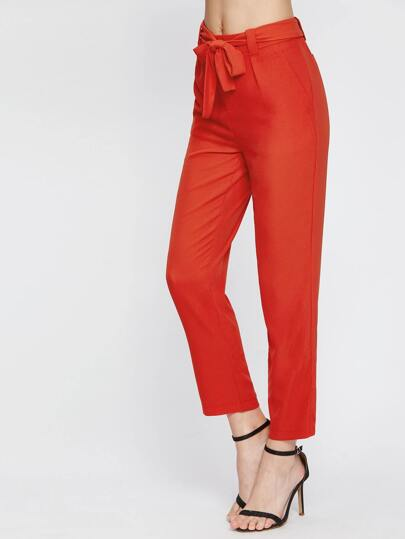 Self Tie Waist Ankle Pants