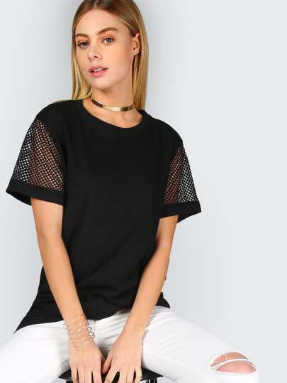 Fishnet Sleeve Tee BLACK
