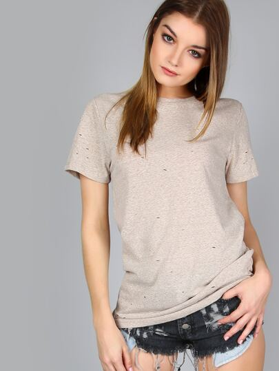 Distressed Short Sleeve Tee TAUPE
