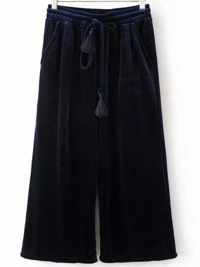 Navy Drawstring Waist Velvet Wide Leg Pants