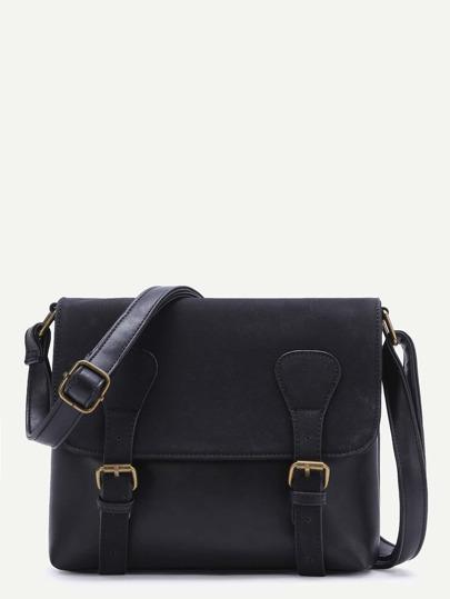 Black Double Buckle PU Shoulder Bag