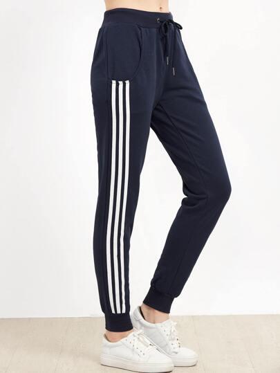 Dark Blue Striped Side Tie Waist Pants