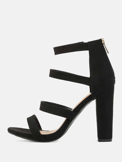 Open Toe Imitation Suede Heels BLACK