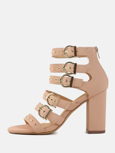 Strappy Grommet Chunky Heels NUDE