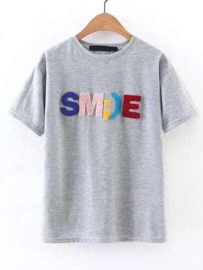 Grigio Lettera Impreziosito manica corta T-shirt