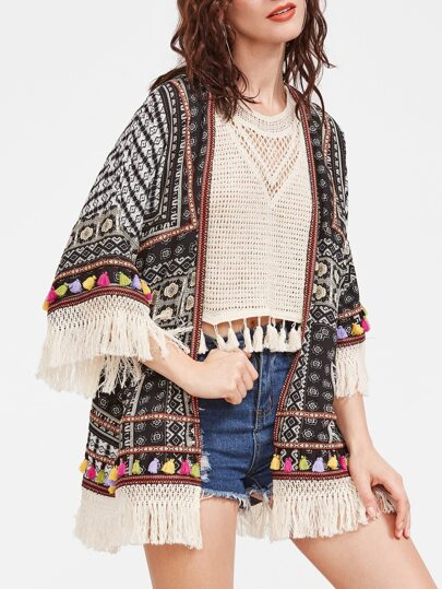 Black Vintage Print Knotted Fringe And Woven Tape Detail Kimono
