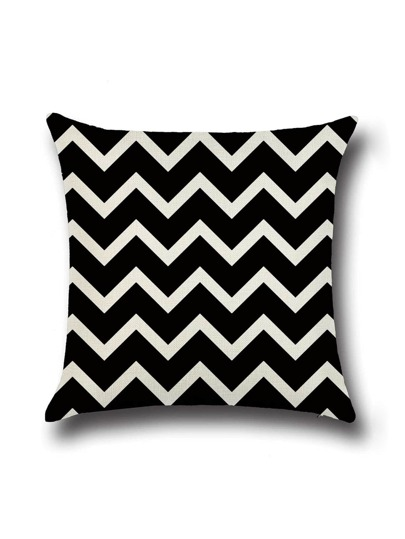 Black And White Chevron Print Cushion Cover