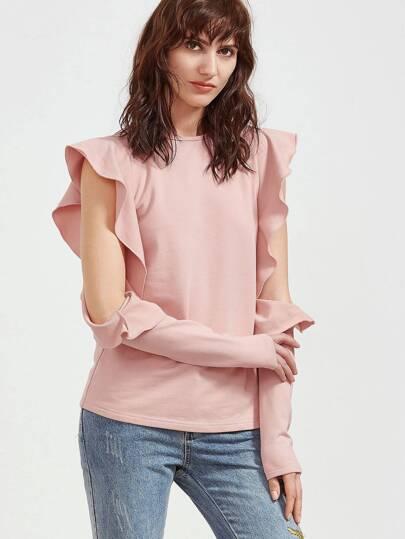 Pink Ruffle Open Shoulder T-shirt