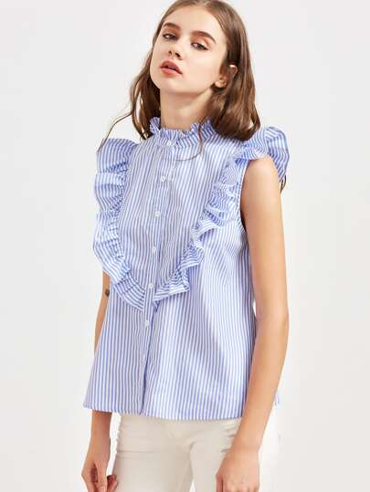 Striped Frill Trim Sleeveless Blouse