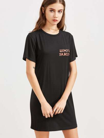 Letter Print Short Sleeve Tee Dress