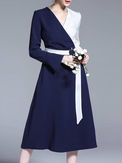 Blue Contrast White V Neck Belted Dress