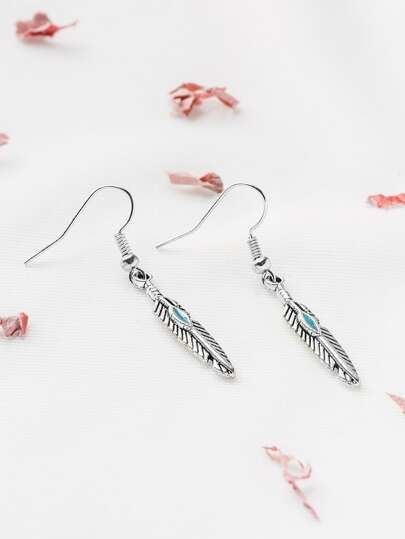 Antique Silver Vintage Feather Drop Earrings
