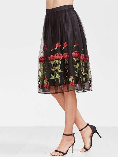 Falda plisada con bordado de rosa de malla estilo overlay - negro