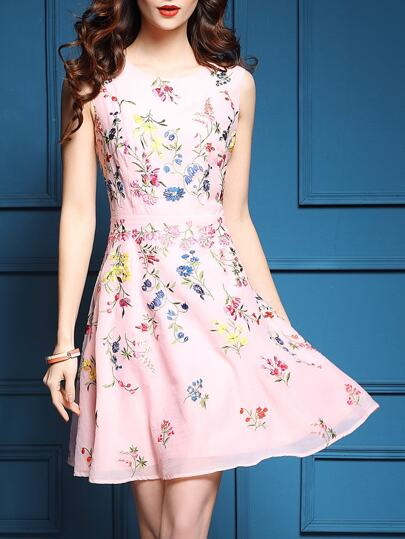 Pink Flowers Embroidered A-Line Dress